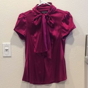 Satin Button Up Top with Bow Tie